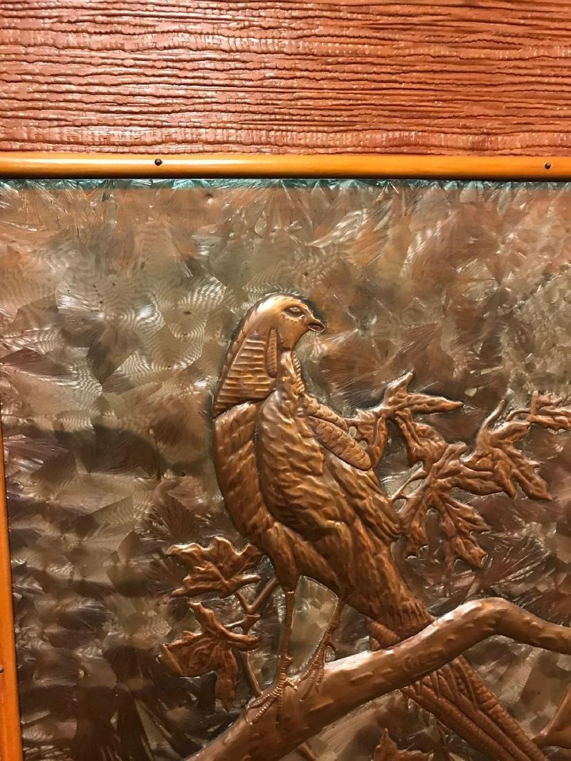 Prison Art, Hammered Metal of Bird in Tree - 5