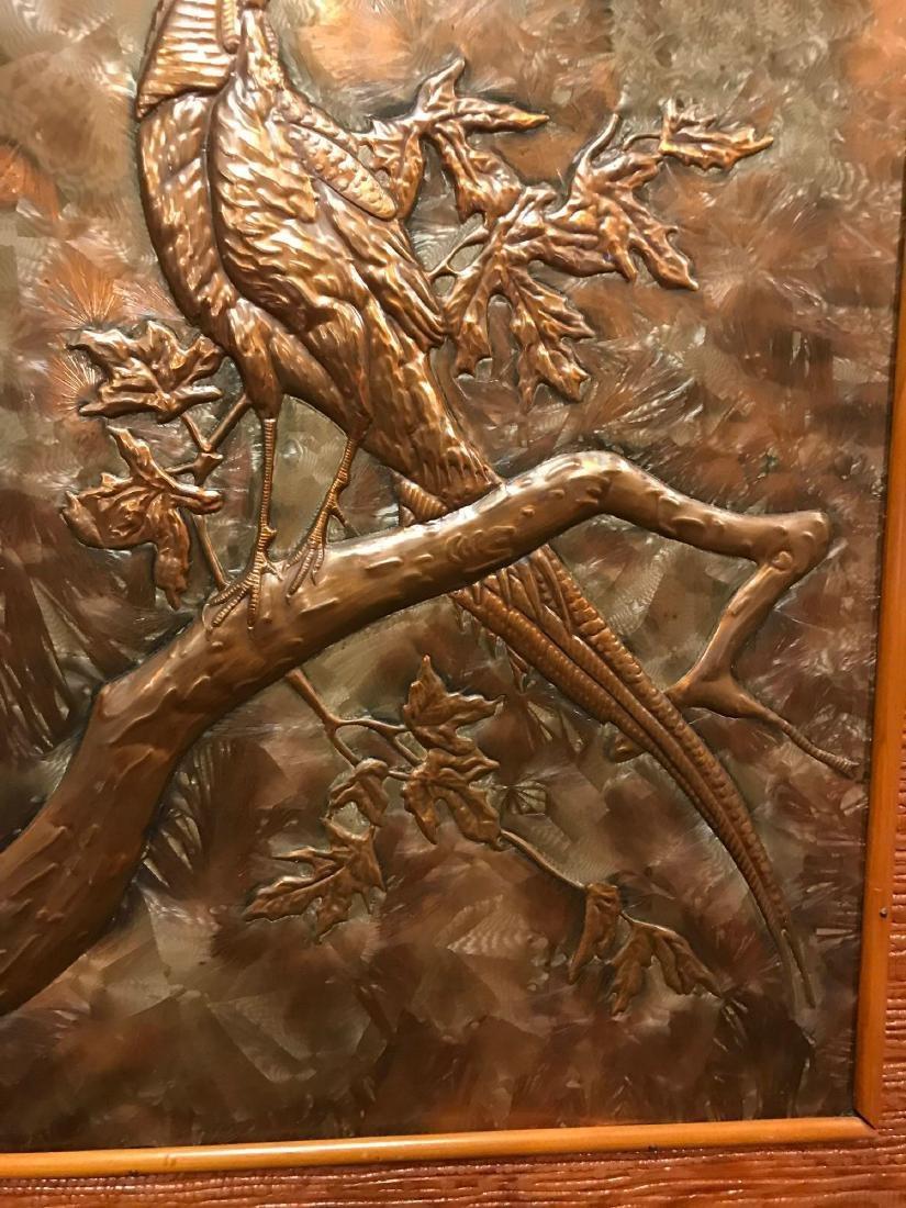 Prison Art, Hammered Metal of Bird in Tree - 6