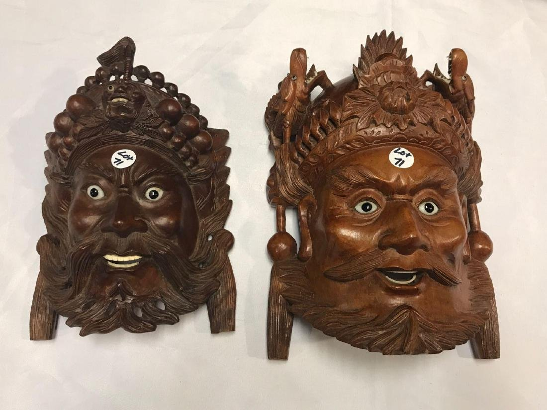 Pair of Triabal Indian Carved Wood Masks