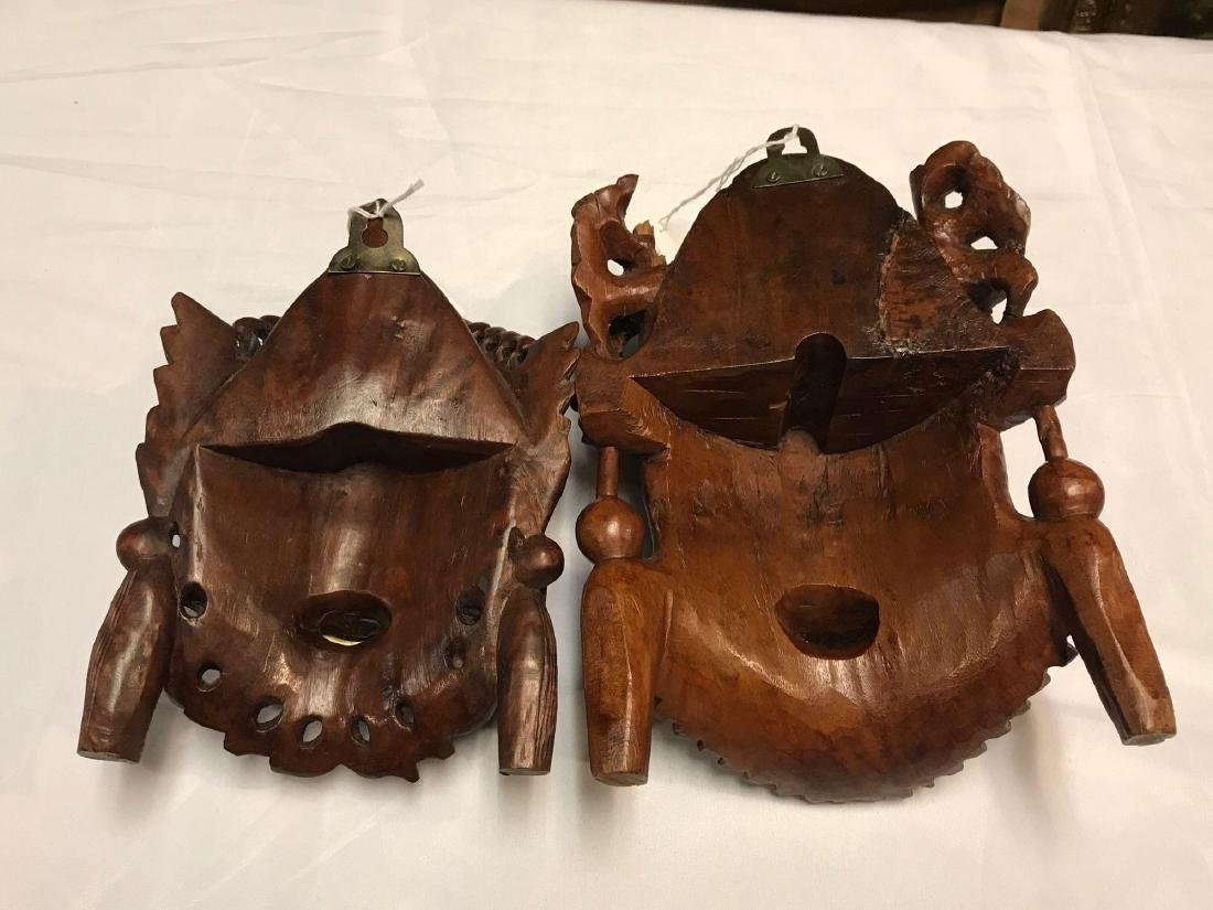 Pair of Triabal Indian Carved Wood Masks - 4