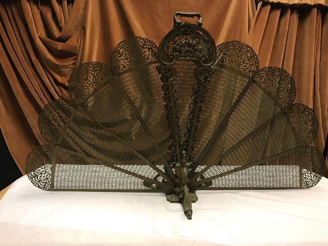 Art Nouveau Brass Peacock Fireplace Screen