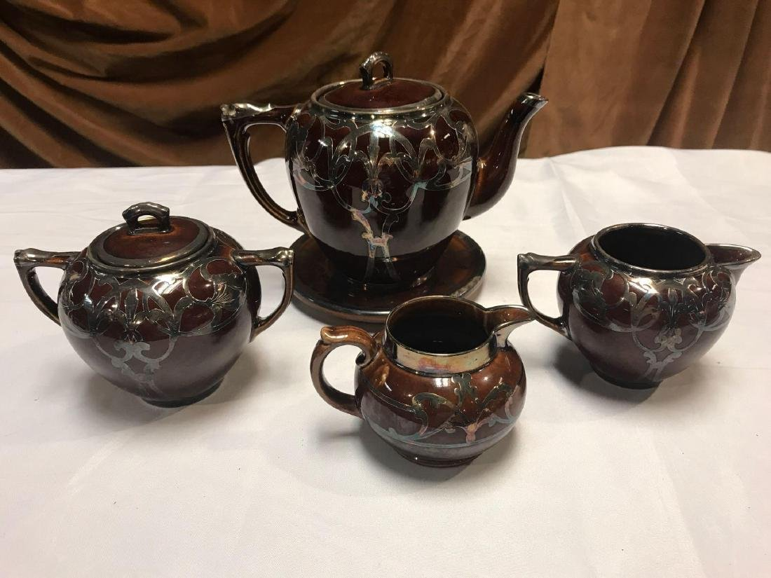 5 Piece Collection of Brown Silver Overlay Cooking Ware - 2