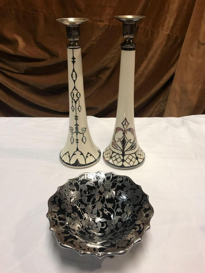 3 Piece Silver Overlay Candlesticks and Bowl