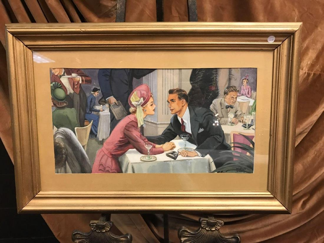 Wallace N. Saaty Watercolor of Couple Dining Out