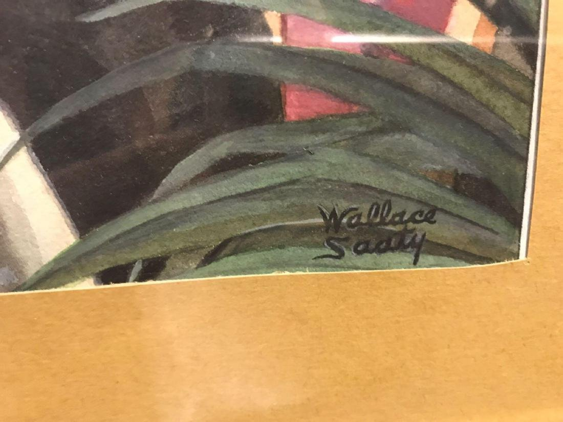 Wallace N. Saaty Watercolor of Couple Dining Out - 2