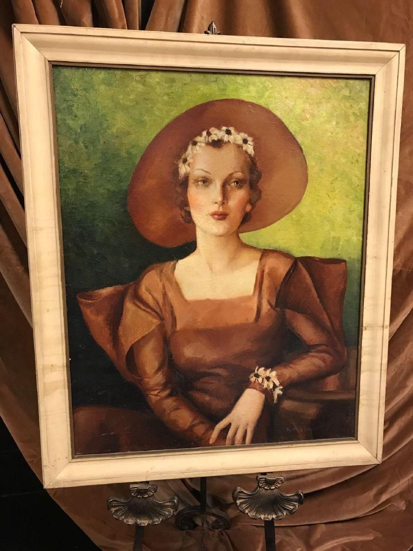 Antique Signed Oil Portrait of a Woman