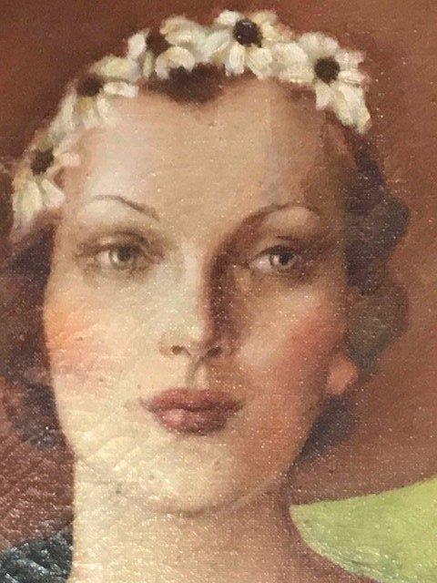 Antique Signed Oil Portrait of a Woman - 5