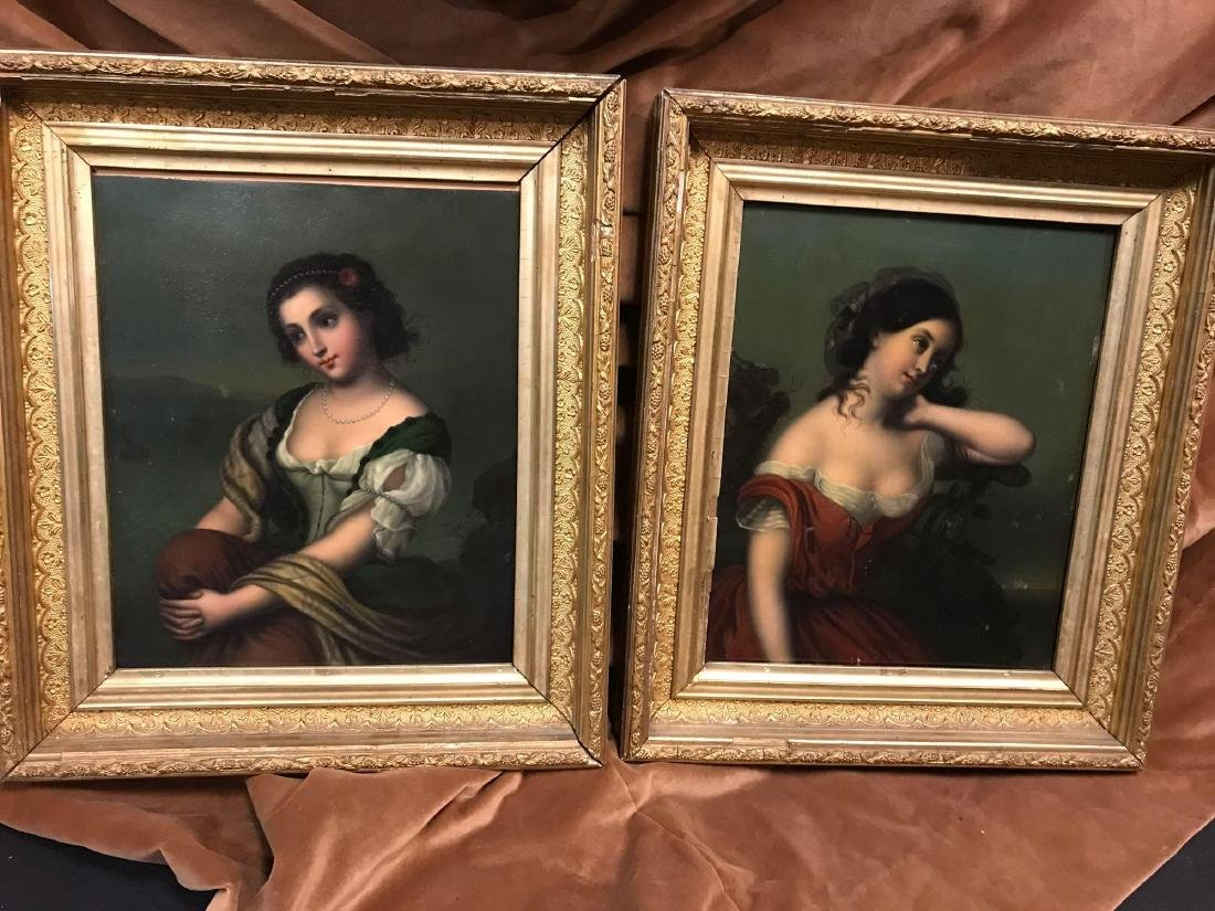 Set of Antique 19th Century Painted Full Plate Tintype
