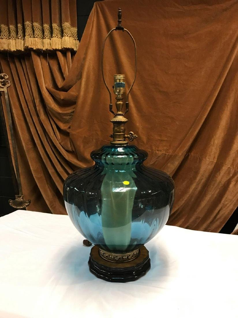 Vintage Blue Glass  Lighted Base Table Lamp