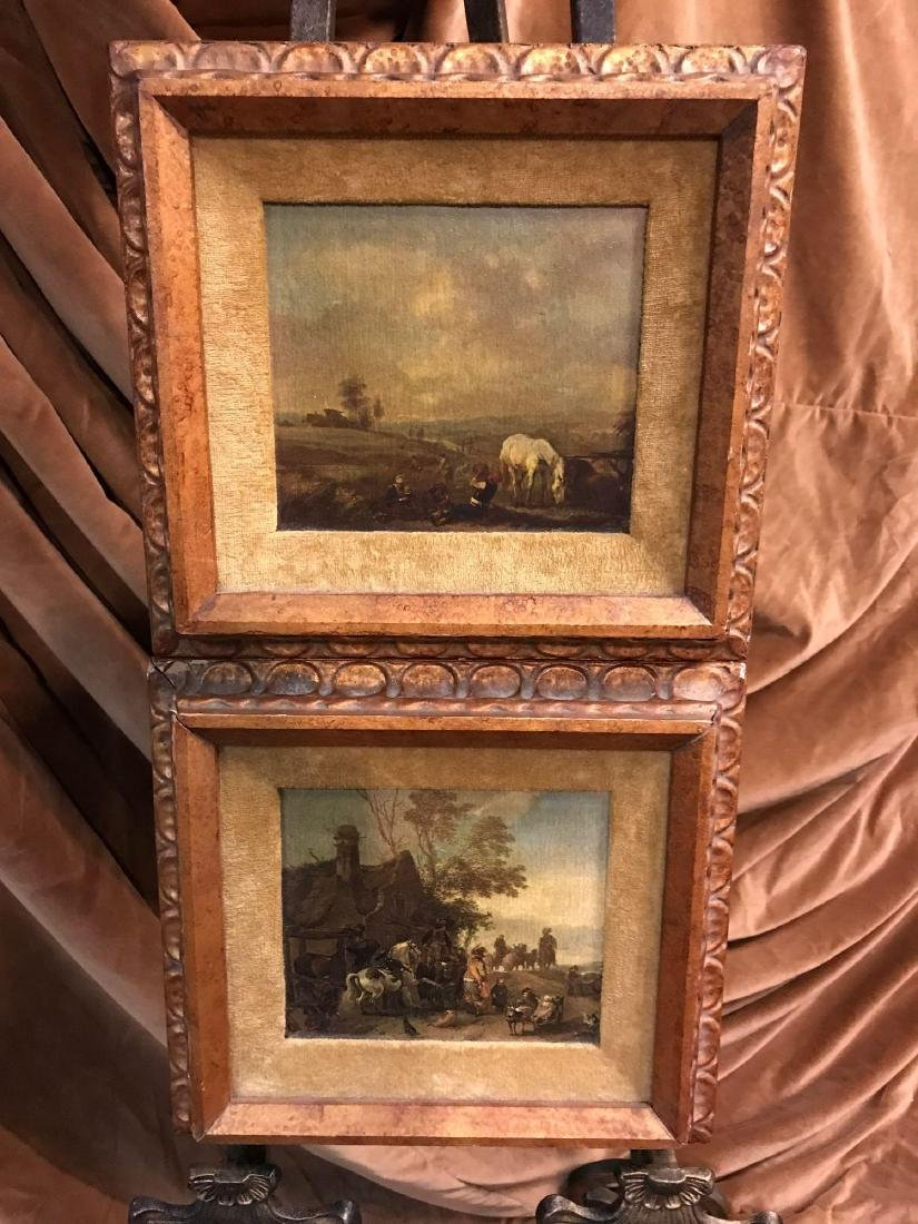 Set of  Two Oil Replica Rural Farm Life Paintings