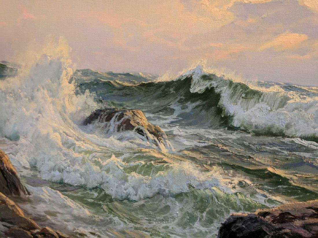 Charles Vickery SUNSET AND SURGING SEA OIL Painting