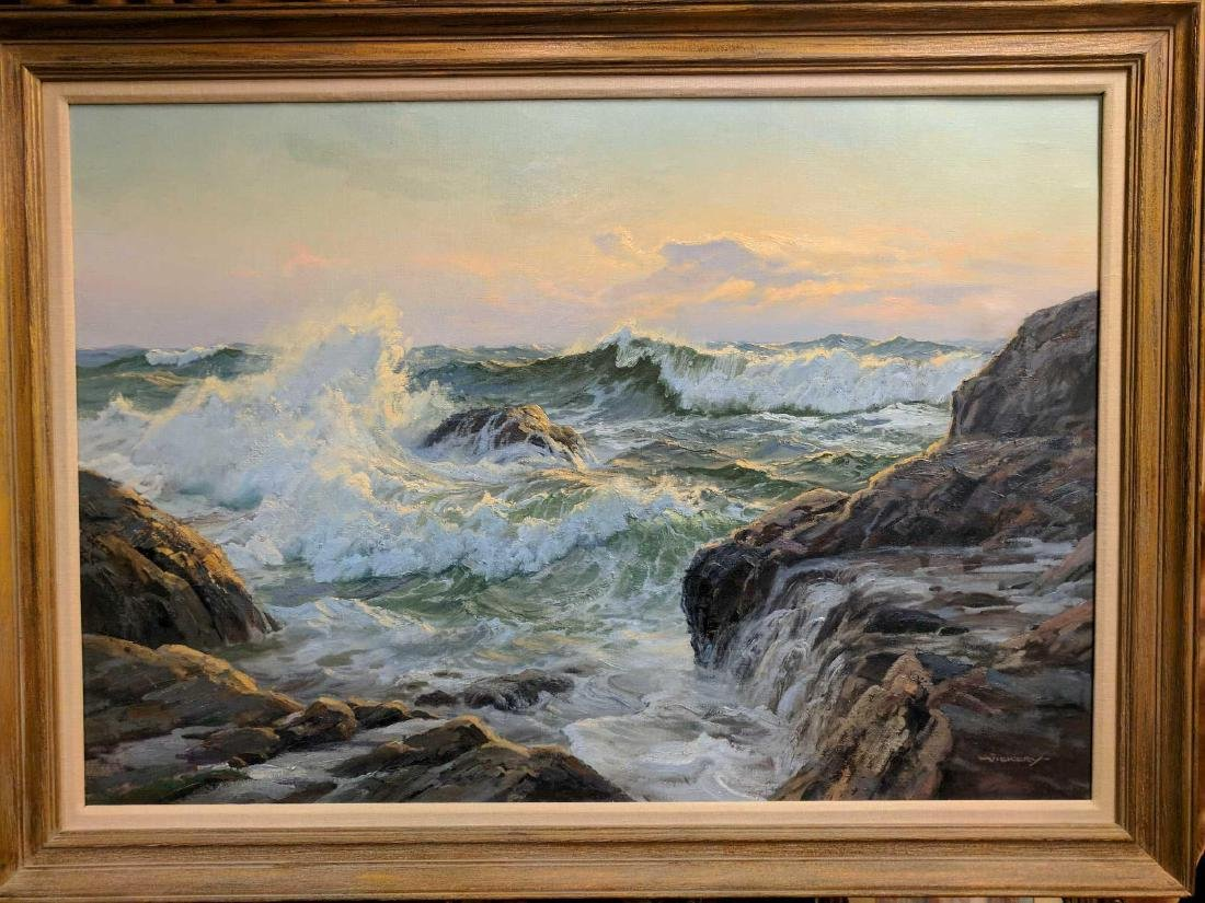 Charles Vickery SUNSET AND SURGING SEA OIL Painting - 2