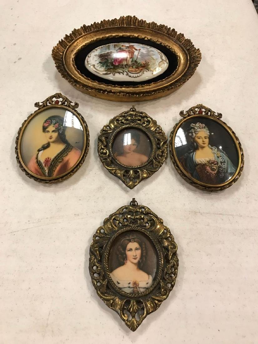 Lot of Victorian Portraits in Brass Frames and Plaque
