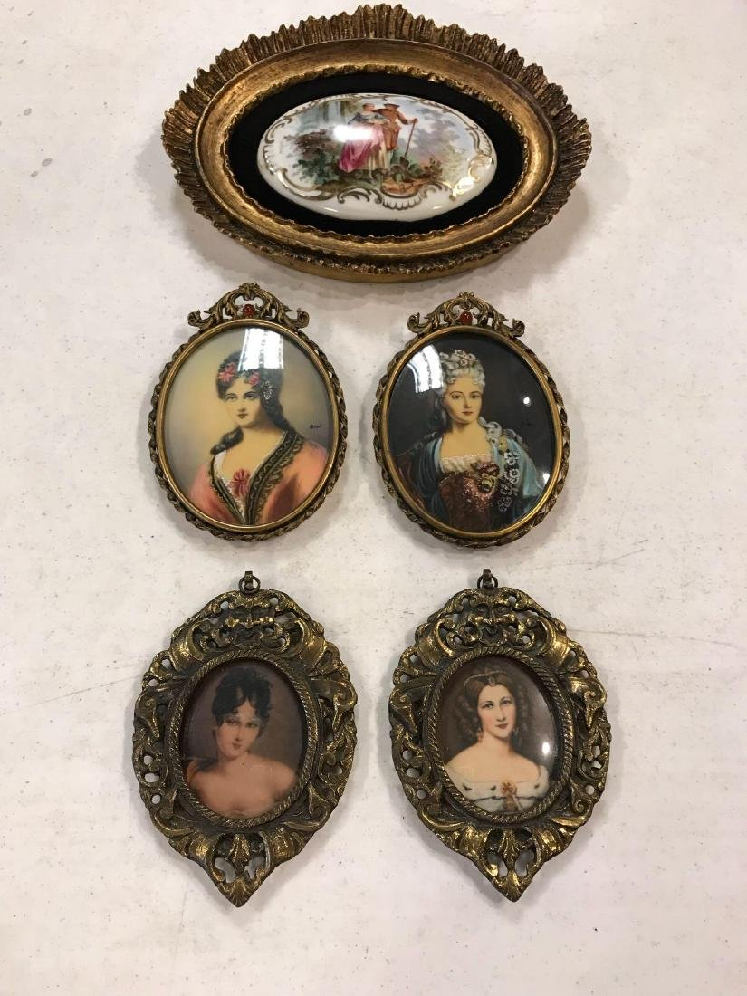 Lot of Victorian Portraits in Brass Frames and Plaque - 3