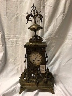 Antique French Louis XVI-Style Brass Mantle Clock