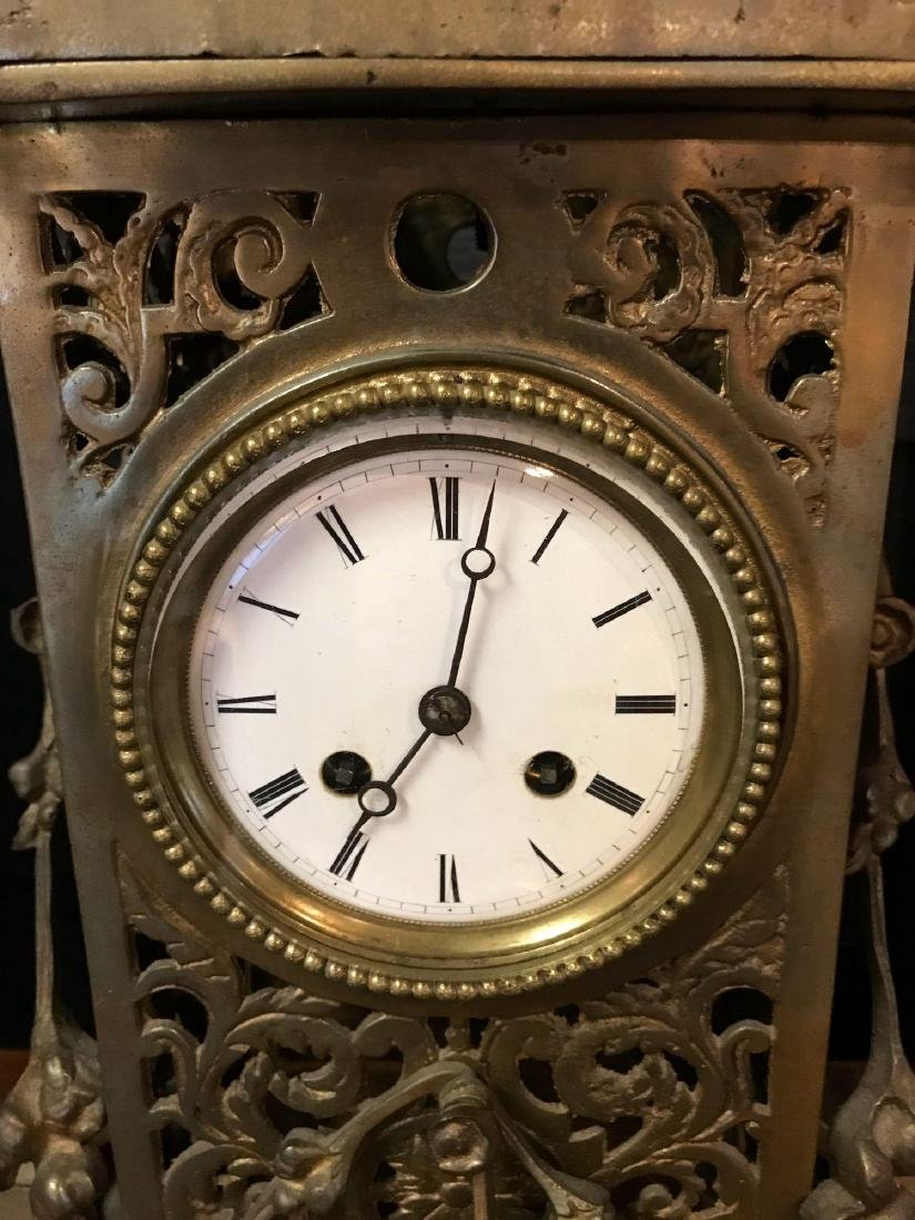 Antique French Louis XVI-Style Brass Mantle Clock - 2