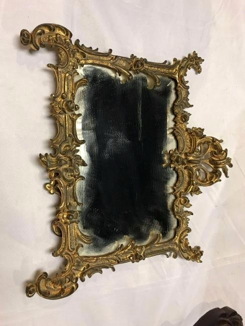 Early 1900's Gilt Brass Bronze Vanity Table Mirror - 2
