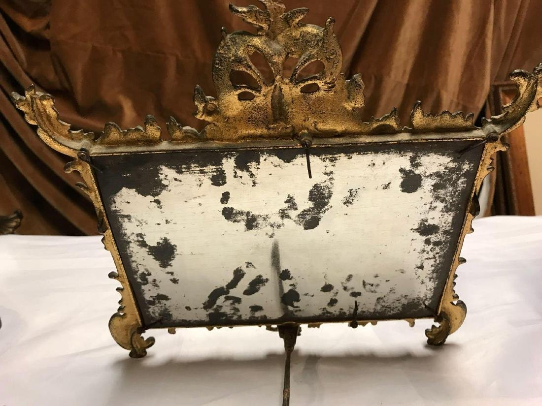 Early 1900's Gilt Brass Bronze Vanity Table Mirror - 3