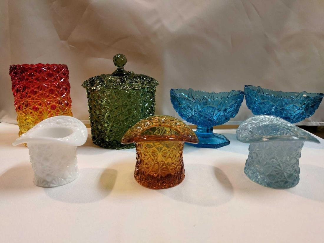 Lot of Pressed Colored Glass