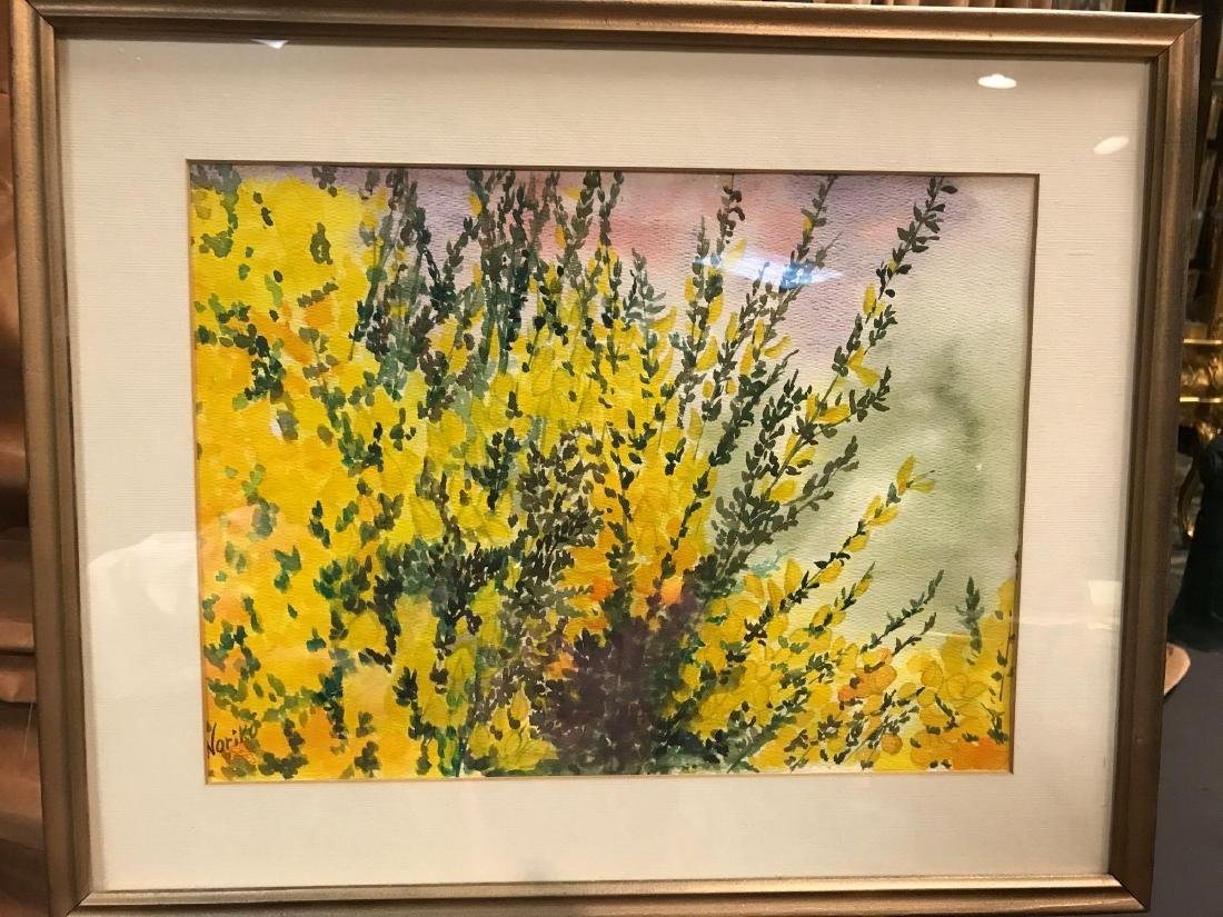 Watercolor Flower Painting Signed by Noriko