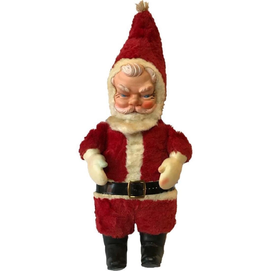 Vintage Vinyl Face Santa Claus Plush Doll