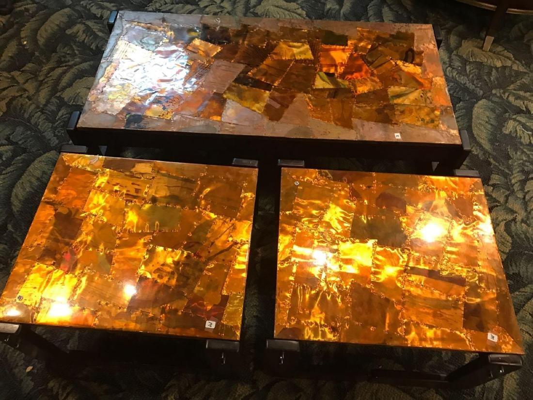 Brutalist Percival Lafer Modern Copper Patchwork Tables