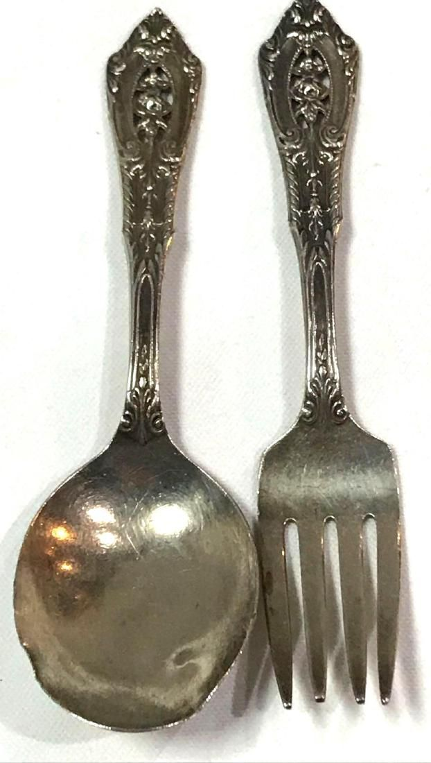 Wallace Sterling Silver W113 Rose Point Baby Set