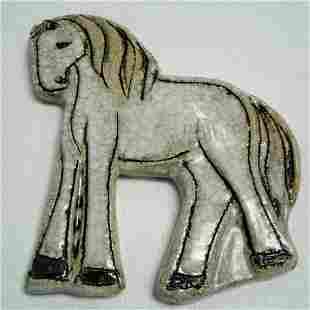Arabian Ceramic Horse Signed Kirjaya Kippur 45 x 6