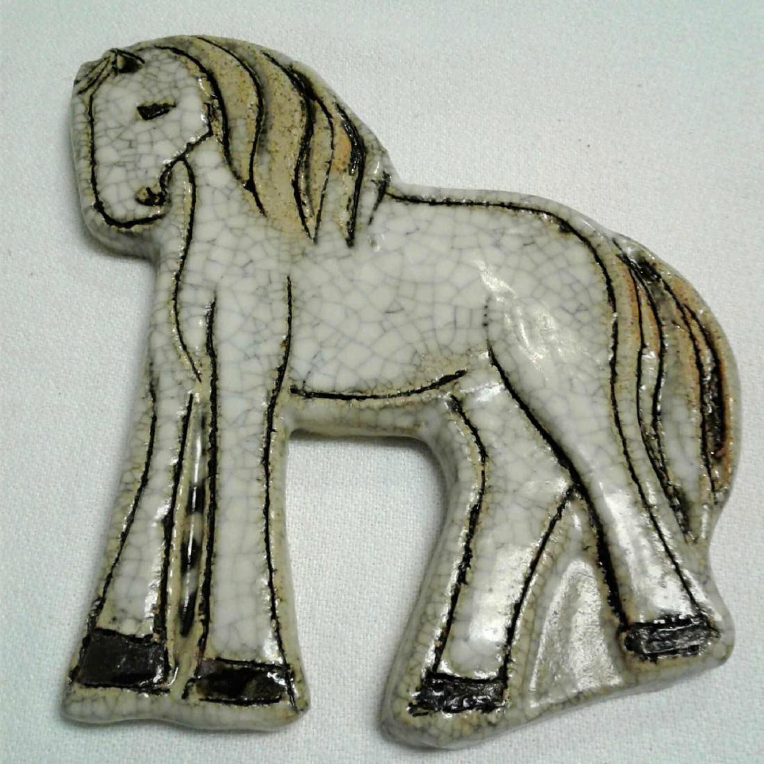 """Arabian Ceramic Horse Signed Kirjaya Kippur (4.5"""" x 6"""")"""