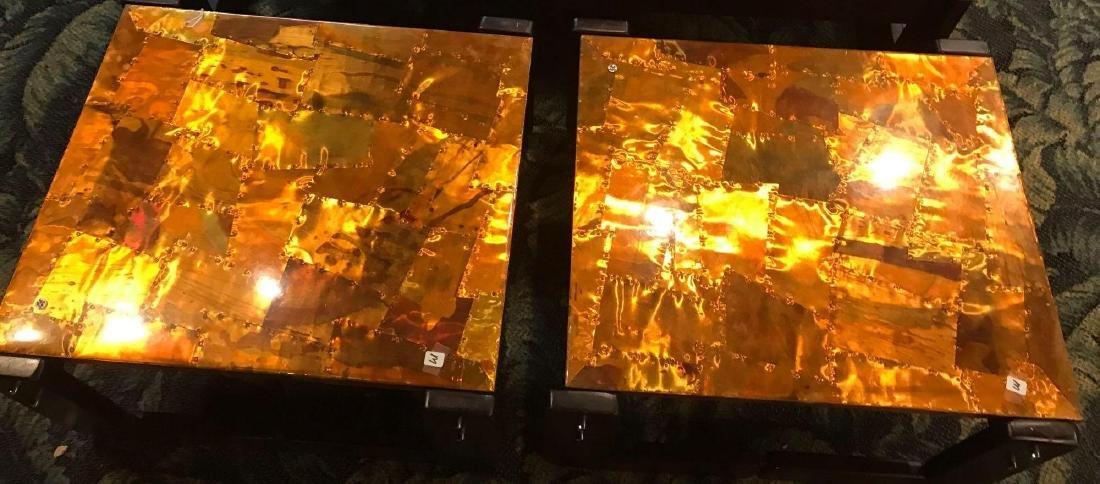 2 Brutalist Percival Lafer Modern Copper End Tables