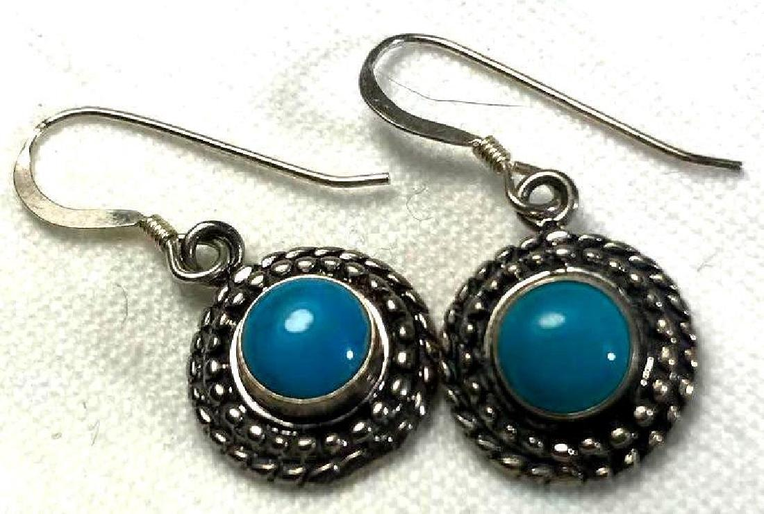 Sterling Silver and Turquoise Button Earrings