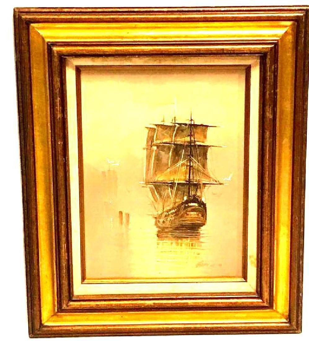 Oil Painting of a Ship at Sea SIgned Garcia