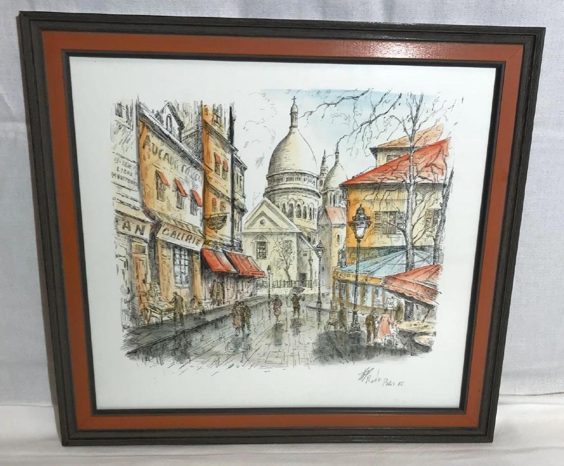 SIgned Pencil and Watercolor Paris Scene