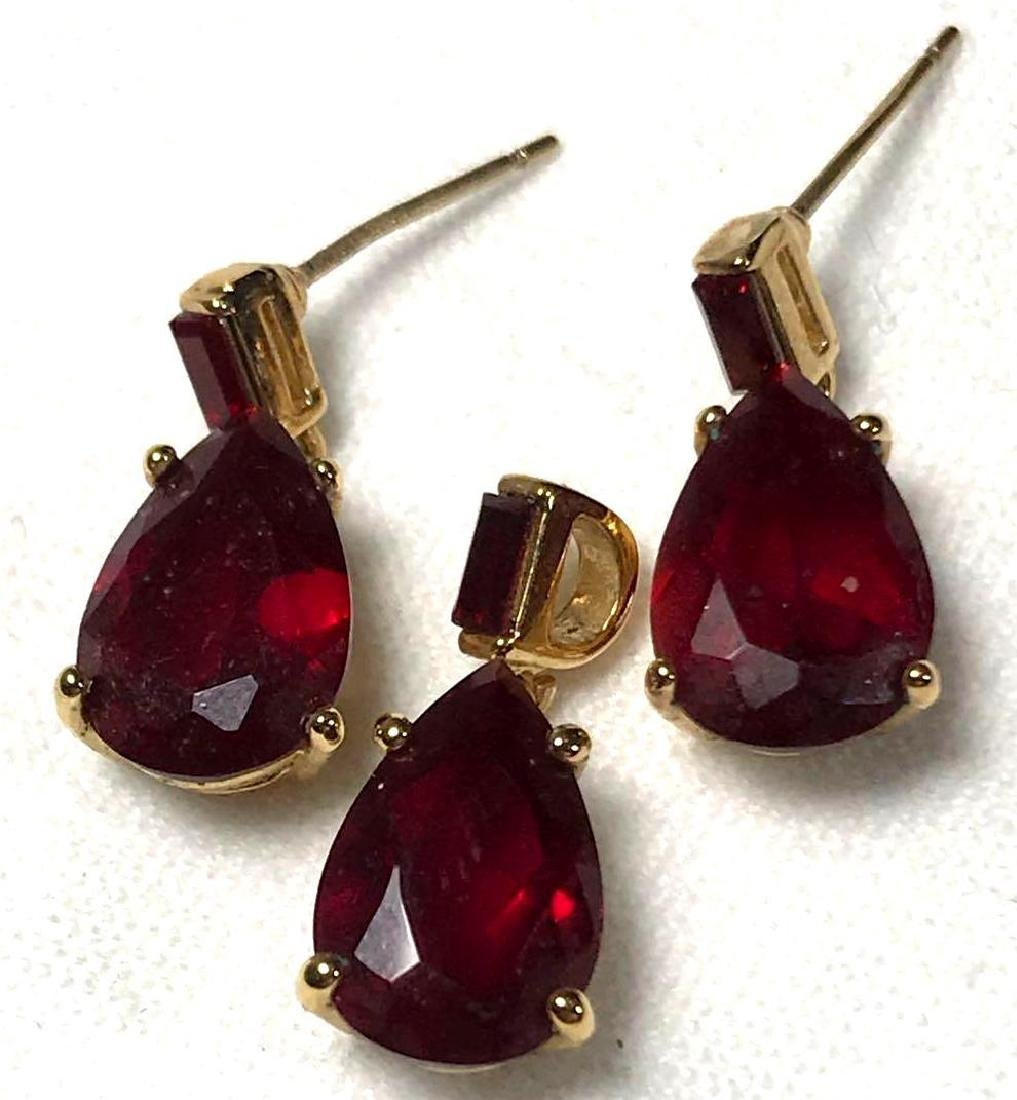 Ruby and Gold Colored Earring and Pendant Set