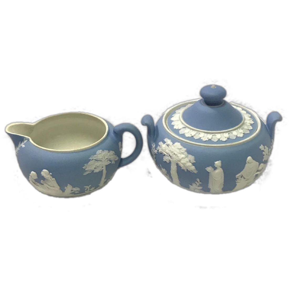 Wedgwood England Blue Jasper Cream Sugar Set