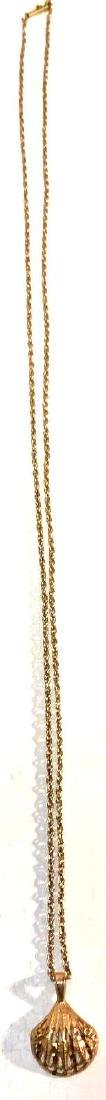 14k Gold Estate Jewelry Necklace and Shell Pendant - 4