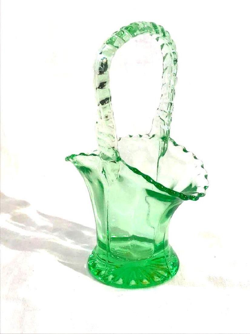 Hazel Atlas Green Glass Basket