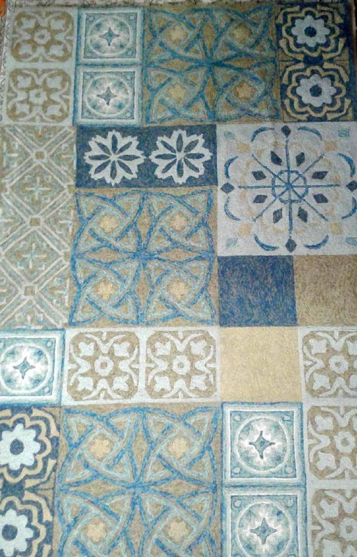 Blue Jute Decorative Area Rug by Papilou