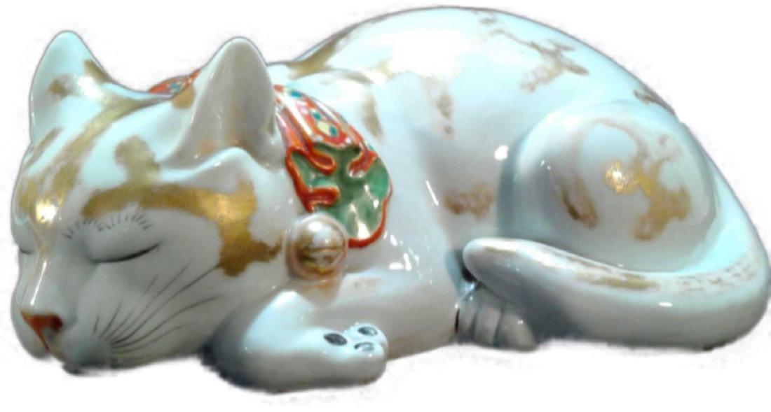 Japanese Kutani Sleeping Cat Porcelain Figure