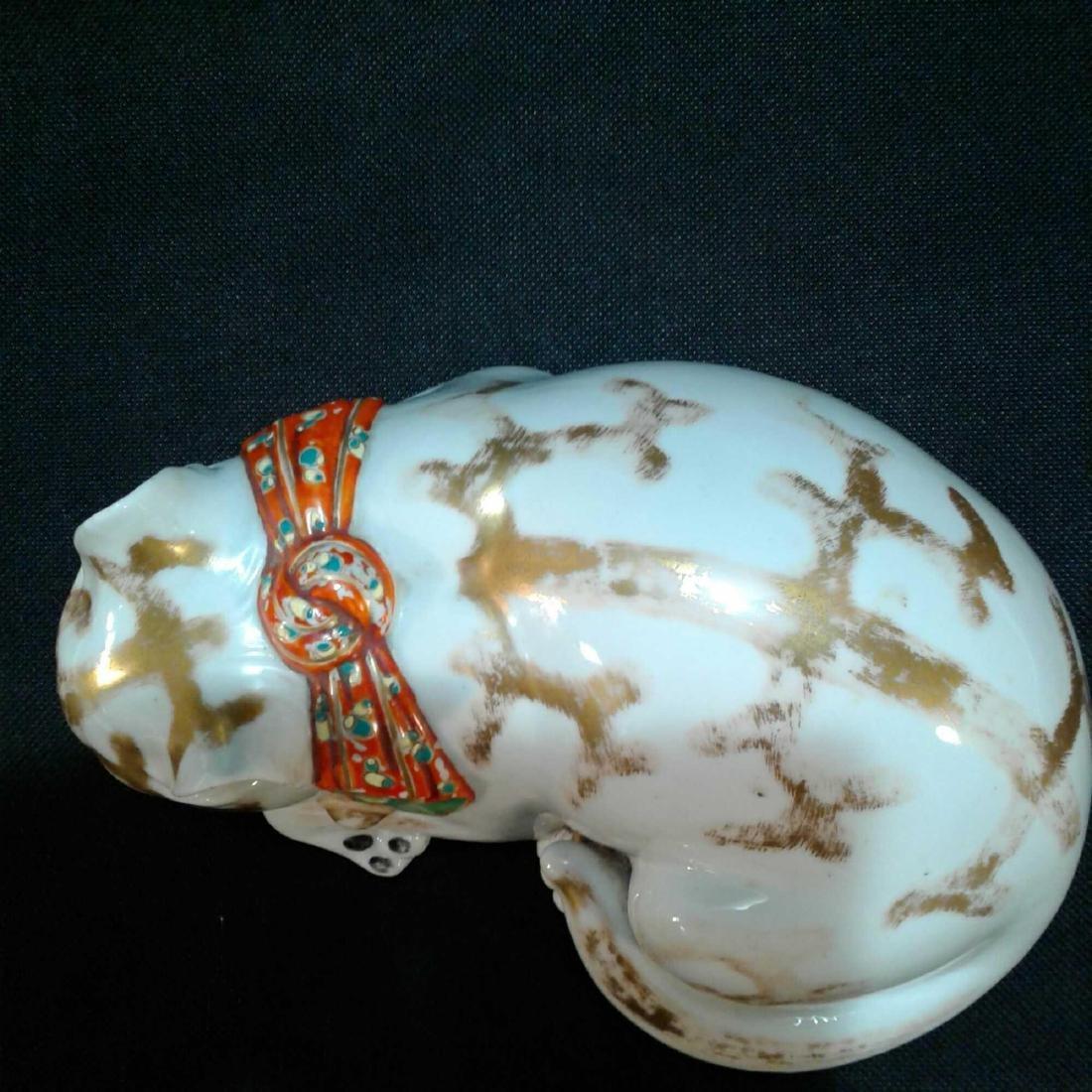 Japanese Kutani Sleeping Cat Porcelain Figure - 6
