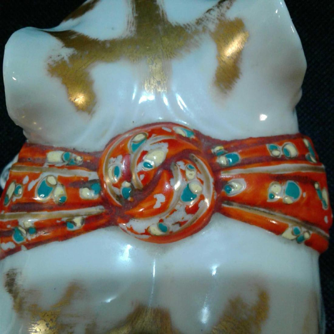 Japanese Kutani Sleeping Cat Porcelain Figure - 8