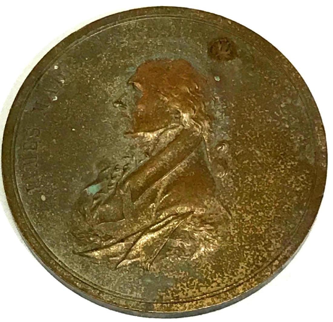 "James Madison 3"" Bronze 1809 Peace Medal"