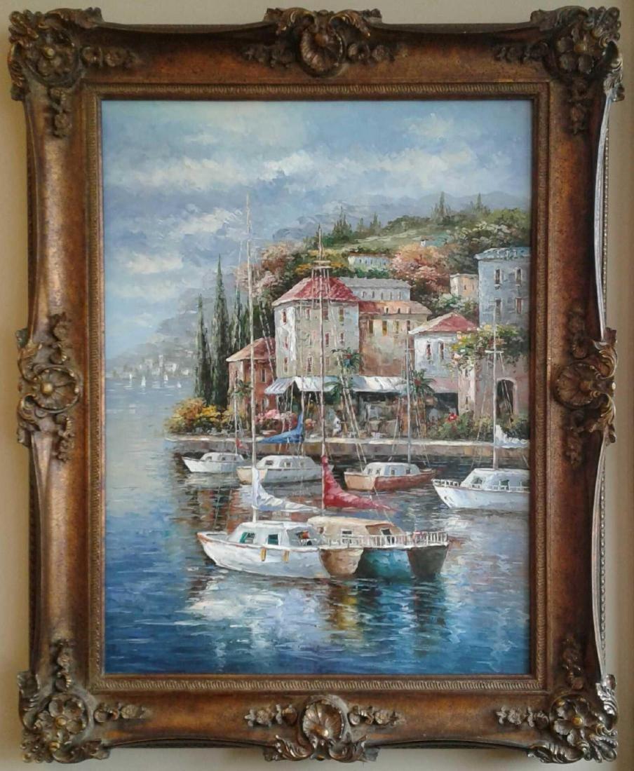 Large Framed Harbor Scene Oil Painting