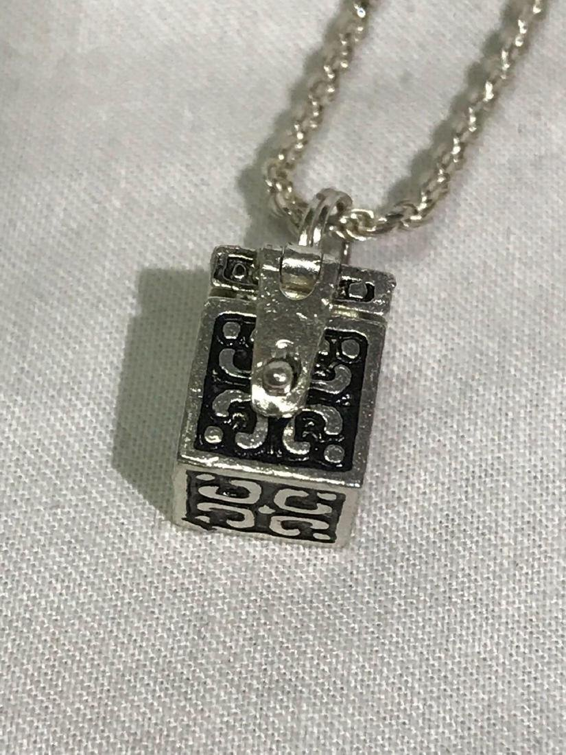 Sterling Silver Necklace and Box Pendant Set - 5