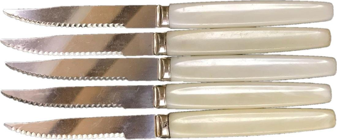 Vintage Sheffield White Bakelite Steak Knives