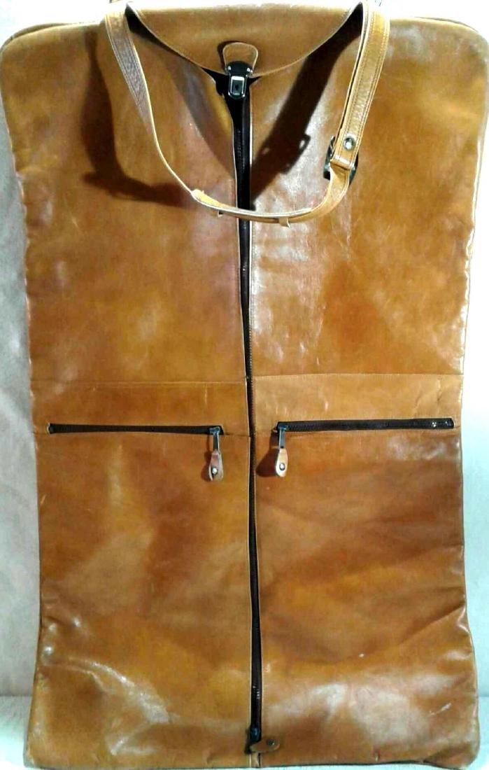 Vintage Leather Overnight Garment Bag