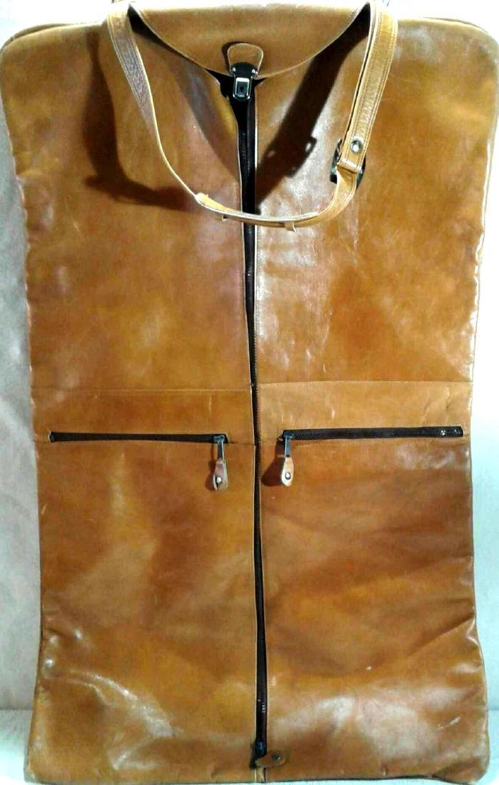 Vintage Leather Overnight Garment Bag