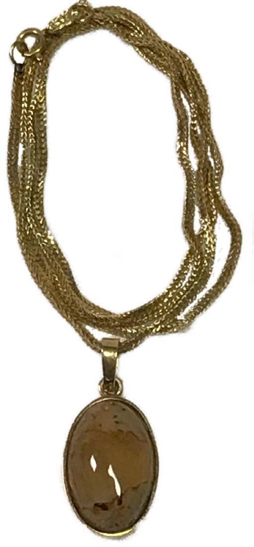 14k Gold Necklace With Quartz Pendant