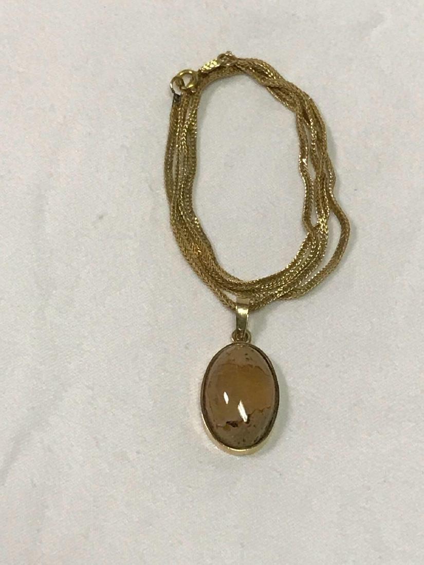 14k Gold Necklace With Quartz Pendant - 2