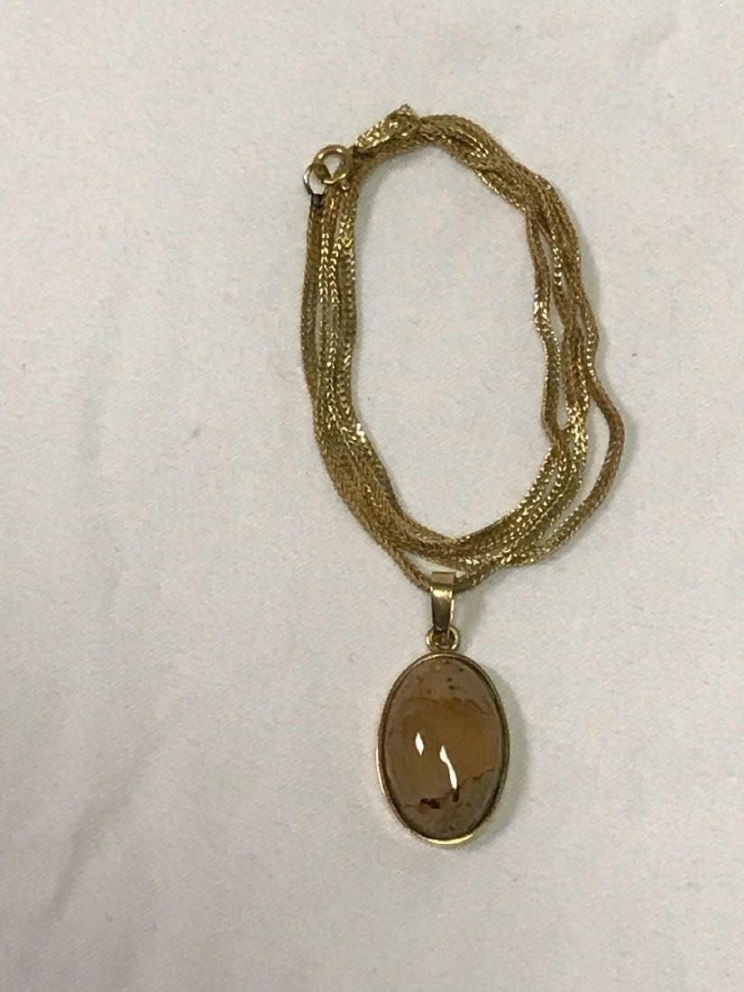 14k Gold Necklace With Quartz Pendant - 3